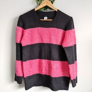 J Crew Wool Blend Striped Pink Shimmer Sweater